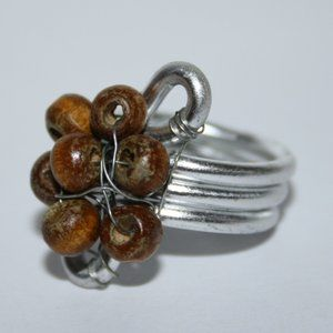 Silver and wooden wire wrapped ring size 7